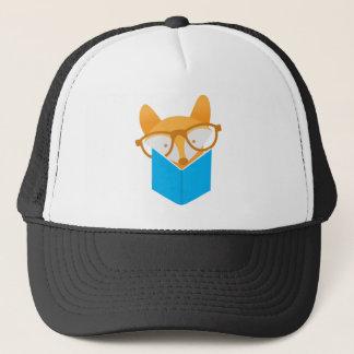 a cute fox reading trucker hat