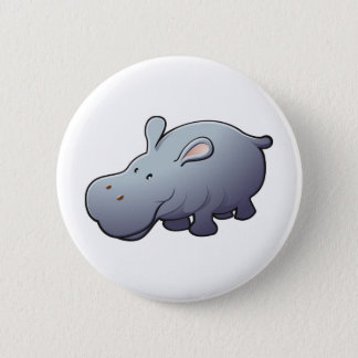 A cute friendly hippopotamus 2 inch round button