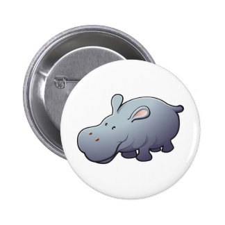 A cute friendly hippopotamus 2 inch round button