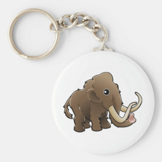 A cute friendly woolly mammoth keychain