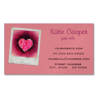 A  Cute Hand Drawn Pink Heart on a Grunge Texture Magnetic Business Card
