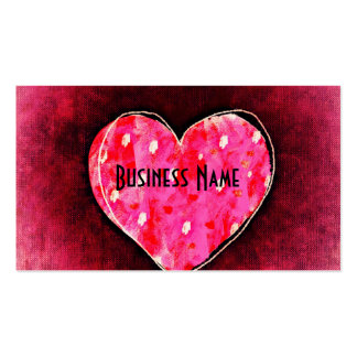 A  Cute Hand Drawn Pink Heart on a Grunge Texture Pack Of Standard Business Cards