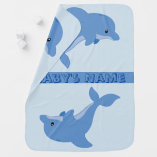 A Cute Happy Dolphin Baby Blanket