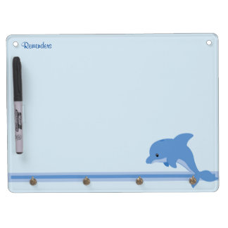 A Cute Happy Dolphin Dry Erase Board With Keychain Holder