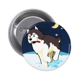 A Cute Husky Playing in the Snow on a Clear Night 2 Inch Round Button