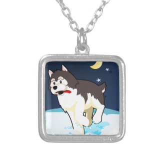 A Cute Husky Playing in the Snow on a Clear Night Personalized Necklace
