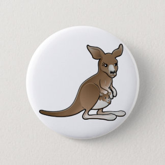 A cute kangaroo with a joey in its pouch 2 inch round button