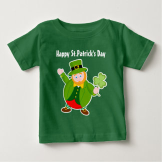 A cute leprechaun holding a lucky Irish shamrock, Baby T-Shirt