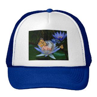 A cute lily butterfly bubble trucker hat