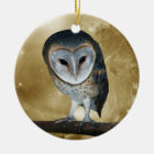 A Cute little Barn Owl Fantasy Ceramic Ornament