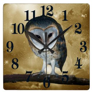 A Cute little Barn Owl fantasy Square Wall Clock