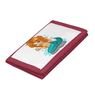 A Cute little mermaid and a compass Tri-fold Wallet