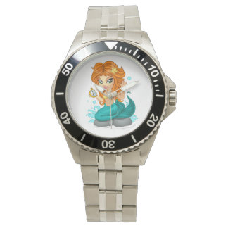 A Cute little mermaid and a compass Watch