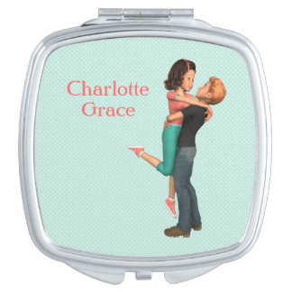 A Cute Romance: Sweethearts Embrace (Personalized) Compact Mirrors