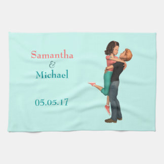 A Cute Romance: Sweethearts Embrace (Personalized) Kitchen Towel