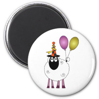 A cute sheep at party time. 2 inch round magnet