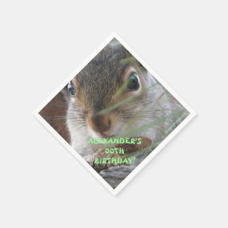 A Cute Squirrel With Peanut Happy Birthday Paper Napkins