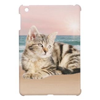 A Cuter Striped Cat Sitting on Beach with sunset Cover For The iPad Mini