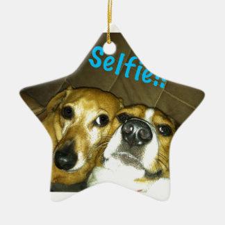 A dachshund and a beagle taking a selfie ceramic star ornament