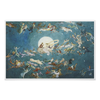 A Dance Around the Moon- Fairy Painting Poster