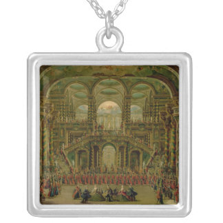 A Dance in a Baroque Rococo Palace Silver Plated Necklace