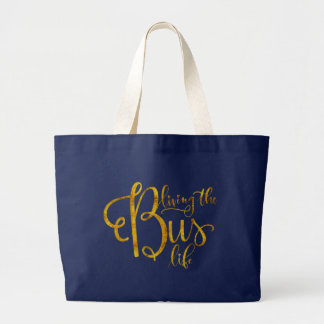 A Dark Blue Living the Bus Life Tote Bag