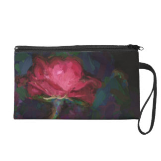 A Dark Pink Rose Flower Edited Like a Painting Wristlet Purse