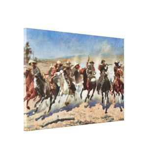 A Dash for the Timber c. 1889 Remington Fine Art Canvas Print