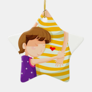 A daughter hugging her mother ceramic star ornament
