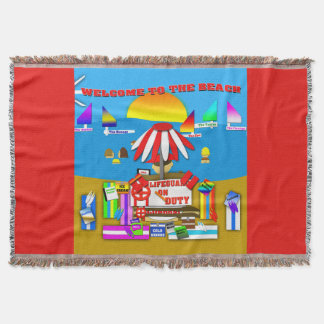 A Day at the Beach Throw Blanket