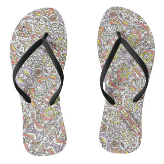 A Day At The Beach-Whimsical Geometric Pattern Flip Flops