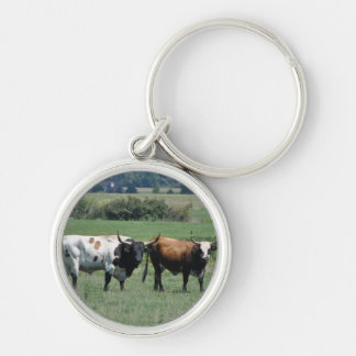 A day at the farm Silver-Colored round keychain