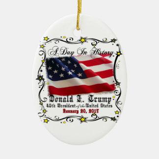 A Day In History Trump Pence Inauguration Ceramic Ornament