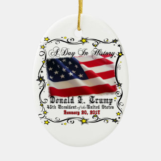 A Day In History Trump Pence Inauguration Ceramic Oval Ornament