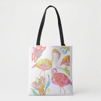 A Day In Paradise tote bag with light green back
