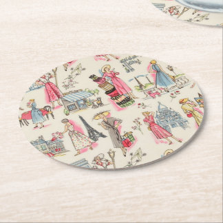 A Day in Paris Round Paper Coaster