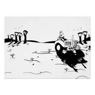 A Day on the Farm Ink Poster