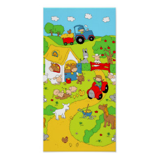 A Day on the Farm (panorama) Poster