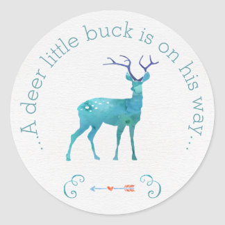 A Deer Little Buck Watercolor Baby Shower Classic Round Sticker