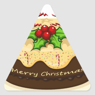 A delicious cake for Christmas Triangle Sticker