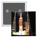 A Delta IV Heavy rocket lifts off 2 Inch Square Button