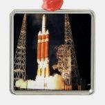 A Delta IV Heavy rocket lifts off Silver-Colored Square Ornament