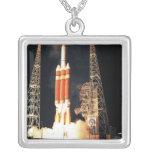 A Delta IV Heavy rocket lifts off Square Pendant Necklace