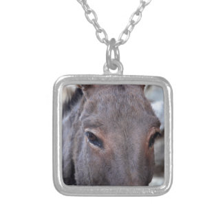 A detail photo of a donkey head. silver plated necklace