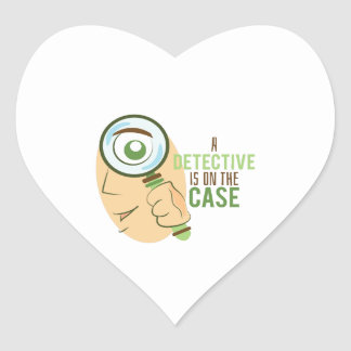 A Detective Is On The Case Heart Sticker