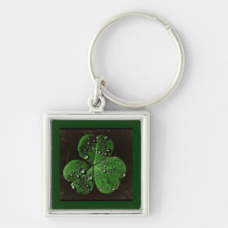 A Dew Covered Shamrock Silver-Colored Square Keychain