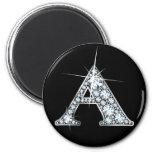 """A"" Diamond Bling Print Magnet"