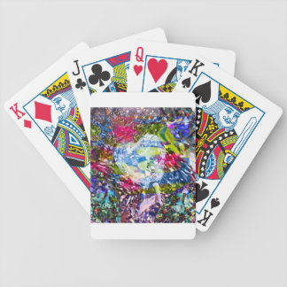 A diamond heart shines on the pond bicycle playing cards