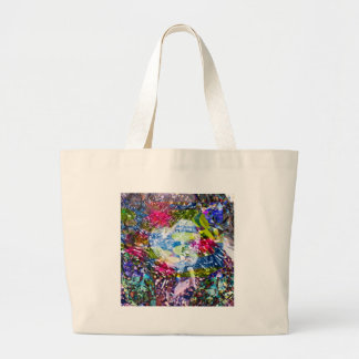 A diamond heart shines on the pond large tote bag