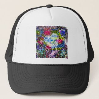 A diamond heart shines on the pond trucker hat